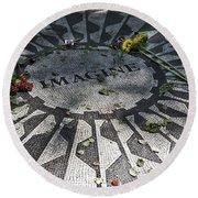 In Memory Of John Lennon - Imagine Round Beach Towel