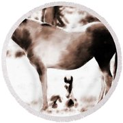 In Mom's Shadow Round Beach Towel