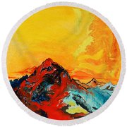 In Mountains Round Beach Towel