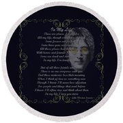 In My Life Golden Scroll Round Beach Towel