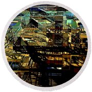 In Perspective - Fire Escapes - Old Buildings Of New York City Round Beach Towel