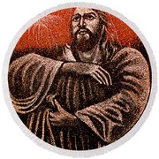 In The Arms Of Christ Round Beach Towel