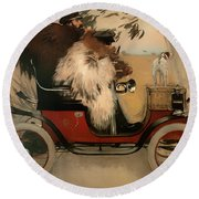 In The Automobile Round Beach Towel