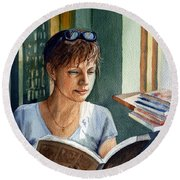 In The Book Store Round Beach Towel
