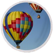 In The Clear Blue Skies Round Beach Towel