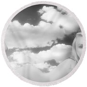 In The Cloud 1082 .01 Round Beach Towel