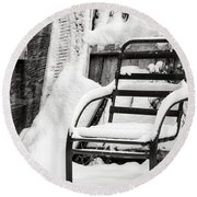 In The Cold Seat Round Beach Towel