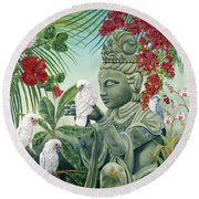 In The Company Of Angels Round Beach Towel