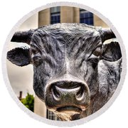 In The Eyes Of The Bull Round Beach Towel