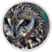In The Eyes Of The Owl Round Beach Towel