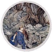 In The Forked Glen Into Which He Slipped At Night-fall He Was Surrounded By Giant Toads Round Beach Towel by Arthur Rackham