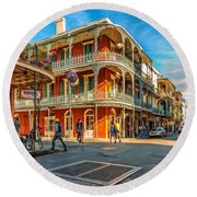 In The French Quarter - Paint Round Beach Towel