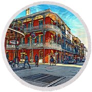 In The French Quarter Painted Round Beach Towel