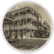 In The French Quarter Sepia Round Beach Towel