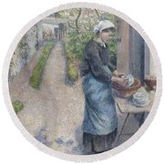 In The Garden At Pontoise A Young Woman Round Beach Towel