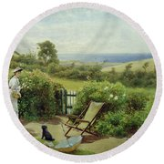 In The Garden Round Beach Towel by Thomas James Lloyd