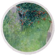 In The Hawthorn Hedge Round Beach Towel