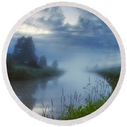 In The Morning At 02.57 Round Beach Towel
