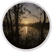 In The Morning At Lough Eske Round Beach Towel