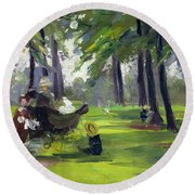 In The Park  Round Beach Towel