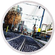 In The Path Of A Cable Car Round Beach Towel