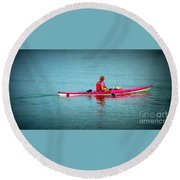 In The Pink Kayaker Round Beach Towel