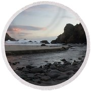 In The Pink Round Beach Towel by Suzanne Luft