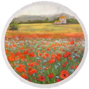 In The Poppy Field Round Beach Towel