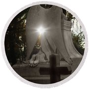 In The Shadow Of His Light Round Beach Towel