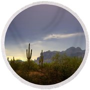 In The Shadows Of The Superstitions  Round Beach Towel