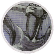 In The Shower - Portrait Of A Woman Round Beach Towel