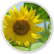 In The Sunflower Field Round Beach Towel