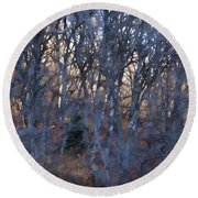 In The Woods V2 Round Beach Towel