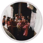 In Tibet Tibetan Monks 5 By Jrr Round Beach Towel