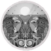 In Unity And Harmony In Grayscale Round Beach Towel