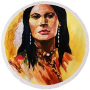 Maiden In White Feather And Beads Round Beach Towel