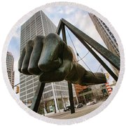 In Your Face -  Joe Louis Fist Statue - Detroit Michigan Round Beach Towel by Gordon Dean II