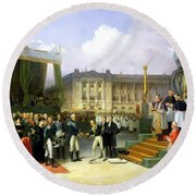 Inauguration Of A Monument In Memory Of Louis Xvi 1754-93 By Charles X 1757-1836 At The Place De La Round Beach Towel