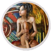 Inca Woman Round Beach Towel