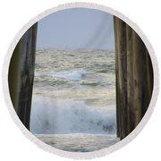 Incoming Tide At 32nd Street Pier Avalon New Jersey Round Beach Towel