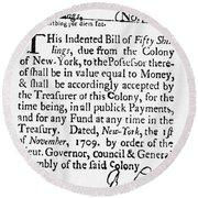 Indented Banknote, 1709 Round Beach Towel
