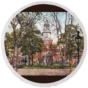 Independence Hall 1900 Round Beach Towel