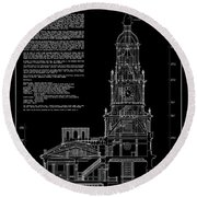Independence Hall Transverse Section - Philadelphia Round Beach Towel