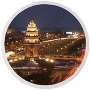 Independence Monument, Cambodia Round Beach Towel