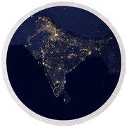 India At Night Satellite Image Round Beach Towel