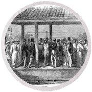 India Train Station, 1854 Round Beach Towel
