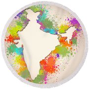 India Watercolor Map Painting Round Beach Towel