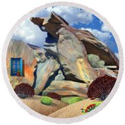 Indian Canyon Rocks Round Beach Towel