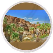 Indian Canyons View In Palm Springs Round Beach Towel