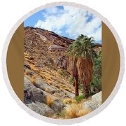 Indian Canyons View With Two Palms Round Beach Towel